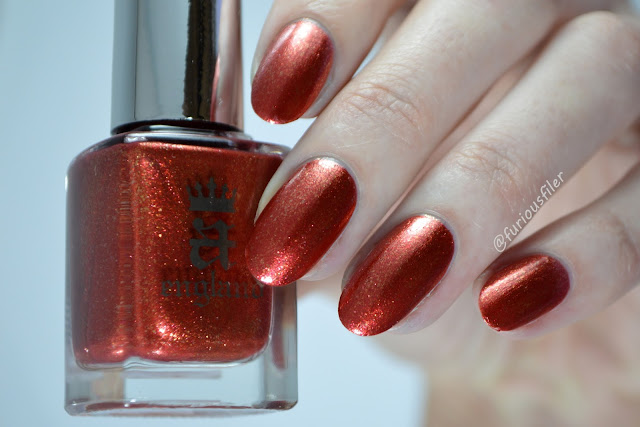 a england gloriana swatch red gold flakies
