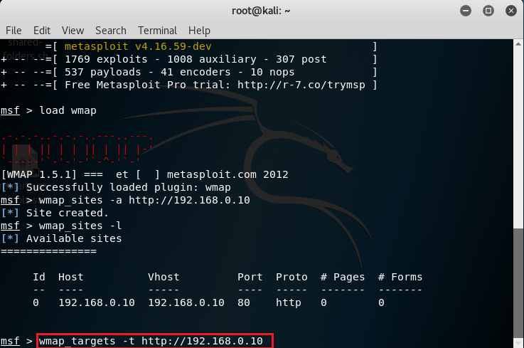 Definizione target con wmap_targets