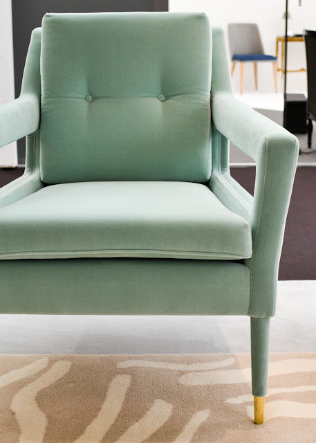 Mint velvet midcentury chair with brass feet by Munna at Decorex during London Design Festival 2016 #LDF16