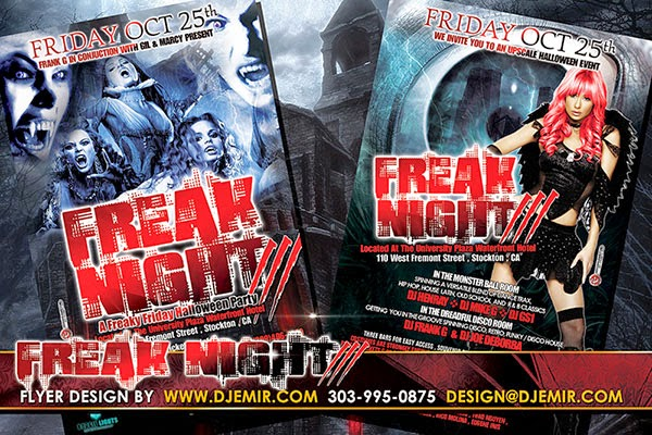 Freak Night 3 Sexy and Scary Halloween Flyer design