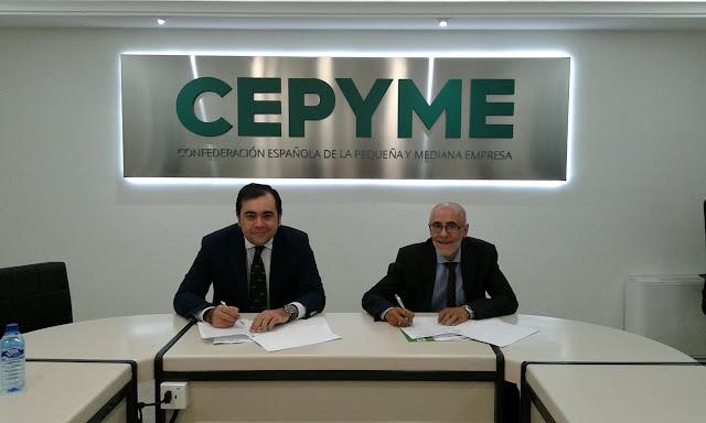Firma del convenio entre  CEPYME y Juan Carlos Bajo, CEO de Ampell Consultores
