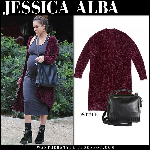 Jessica Alba in burgundy long cardigan a'gaci and grey dress with black bag 3.1. philli lim ryder maternity celebrity fashion november 27
