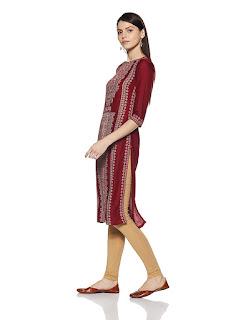 WforWoman, Red, Calf Length, Kurti-Kurta, Printed, 500-1000, Boat Neck, Three Quarter Sleeve,