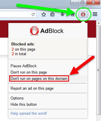 تعطيل مانع الاعلانات AdBlock Plus من على مدونة علوم و تقنيات من متصفح الفايرفوكس