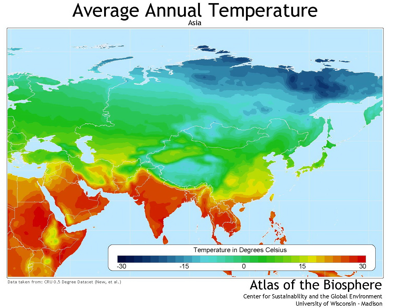 Asia average annual temperature