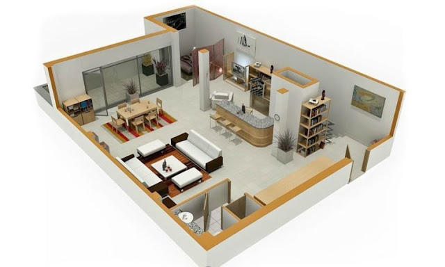 cool 1 bedroom 3d floor plans with garage
