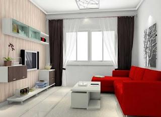 Model Sofa Ruang Tamu Warna Merah