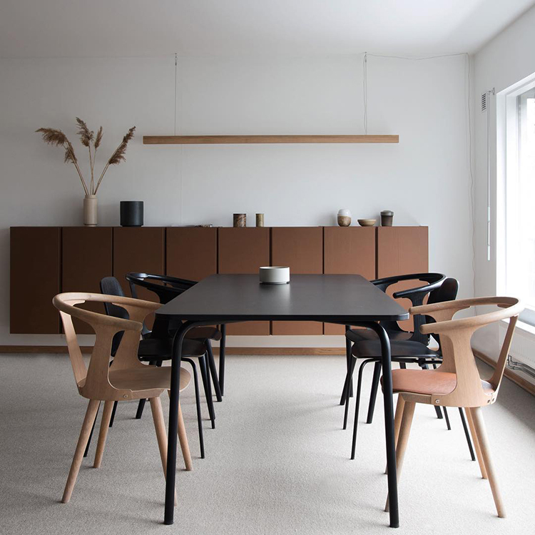 Brown painted IKEA IVAR cabinets in the dining room of Elisabeth's of Studio Ønseth