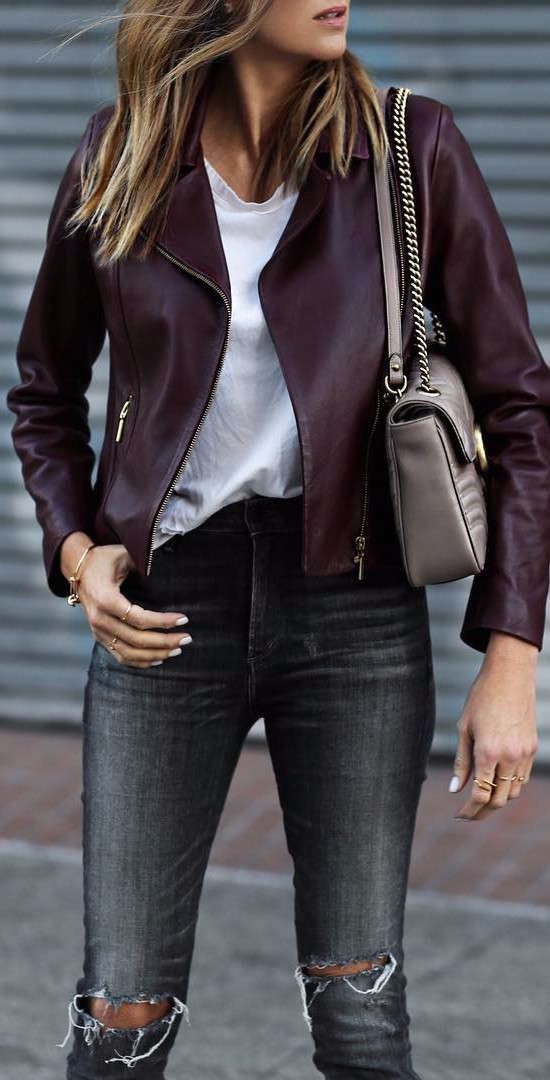 So crazy for this wine colored jacket. It's is the softest buttery leather.