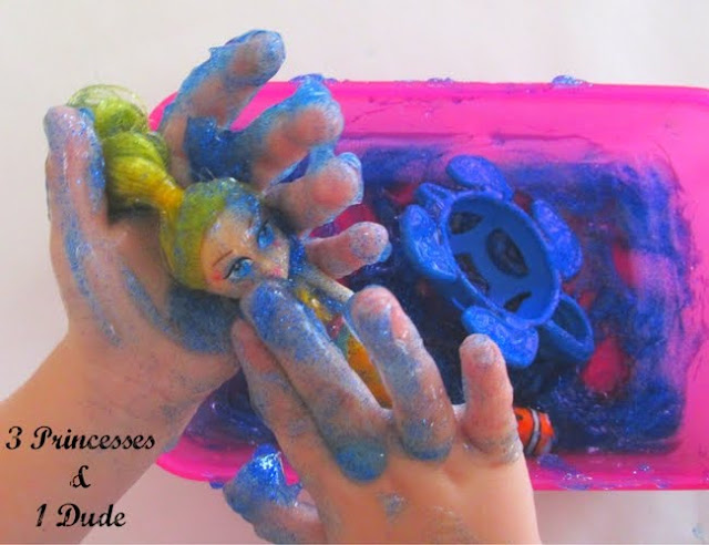 Mermaid Themed Messy Play Using Glitter and Hair Gel