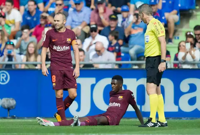 Less than a month after making his £135 million ($183 million) move to Barcelona, Ousmane Dembele looks set to be sidelined for 16 weeks after reportedly rupturing a tendon in his thigh.  Dembele, 20, became Barcelona's most expensive signing on August 25 when he moved to the Camp Nou from Borussia Dortmund.  The Frenchman was seen as Neymar's replacement following his £198 million ($268 million) world-record transfer to Paris Saint-Germain this summer.