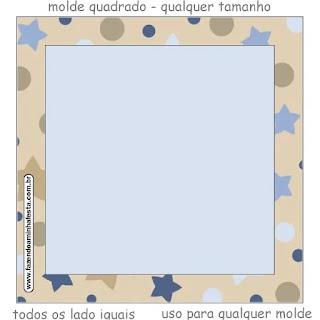 Estrellas Beige y Azul: Etiquetas para Candy Bar para Imprimir Gratis.