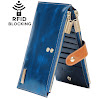 Borgasets RFID Blocking Women's Genuine Leather Zipper Wallet Card Case Purse Blue