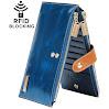Borgasets RFID Blocking Women's Genuine Leather Zipper Wallet Card Case Purse Blue