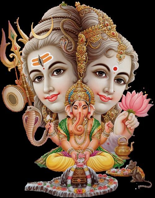 Lord Ganesha Image with Father Shiva and Mother Parvati