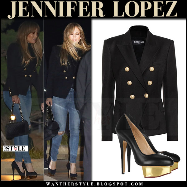 Jennifer Lopez in black double breasted Balmain blazer and platform pumps charlotte olympia dolly what she wore april 2017