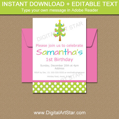 editable Christmas invitations with Christmas tree