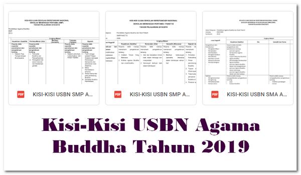 Kisi-Kisi USBN Agama Buddha Tahun 2019