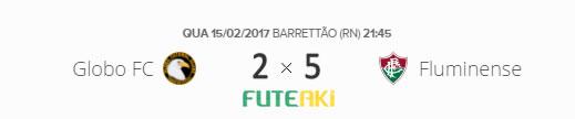 O placar de Globo FC 2x5 Fluminense pela Primeira Fase da Copa do Brasil 2017