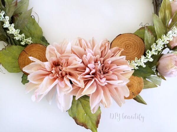 beautiful blush blooms on Spring wreath