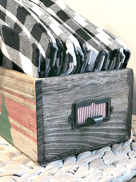 How to Make a Stenciled Christmas Card Catalog Drawer