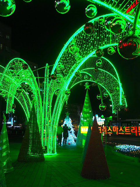 Green Christmas tree grotto lights in Nampo, Busan, South Korea