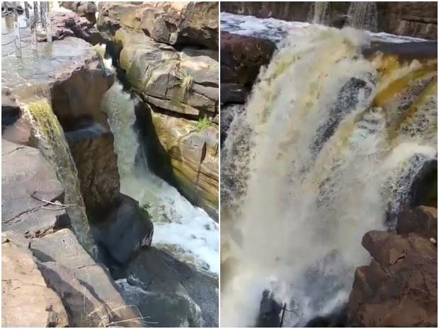 Cachoeira de Missão Velha, no Ceará, volta a jorrar após chuvas
