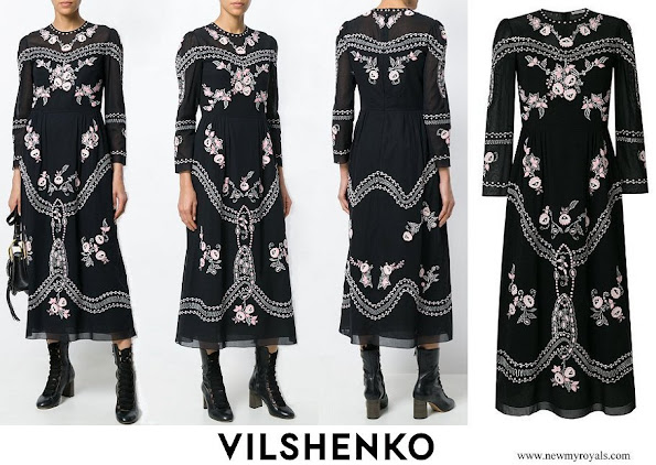 Crown Princess Mary wore VILSHENKO black floral embroidered midi dress