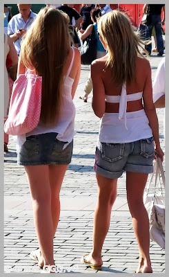 Girls in jean short and jean skirt on the street