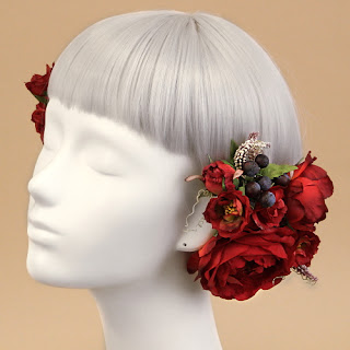 イングリッシュローズのヘアピック(赤)_ウェディングヘッドドレスと花髪飾りairaka