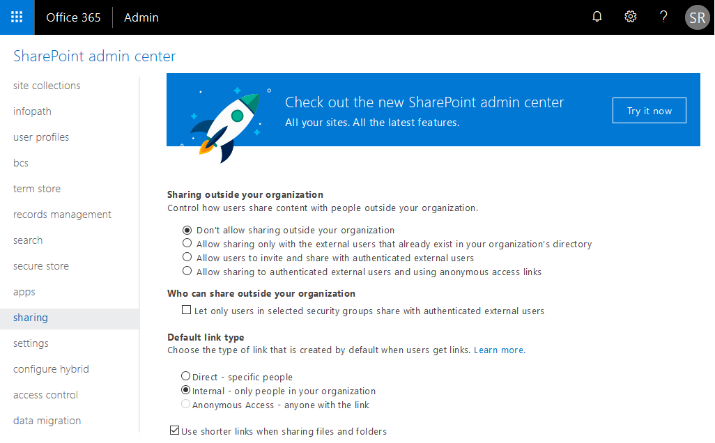 disable external sharing in sharepoint online