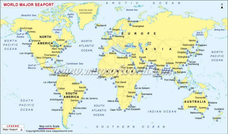 Melbourne Australia World Map.Major Ports Of The World World Sea Ports Map