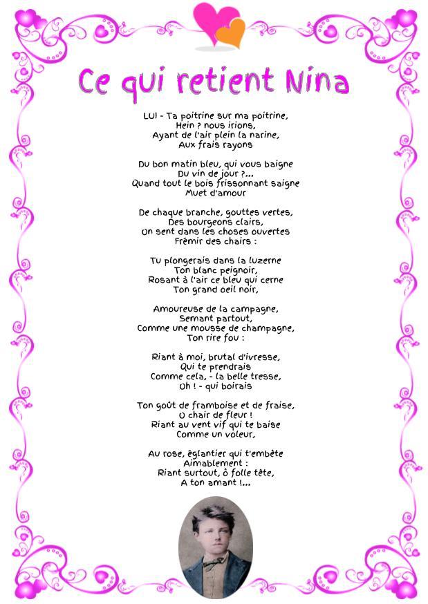 Ce qui retient Nina : Poème d'Arthur Rimbaud