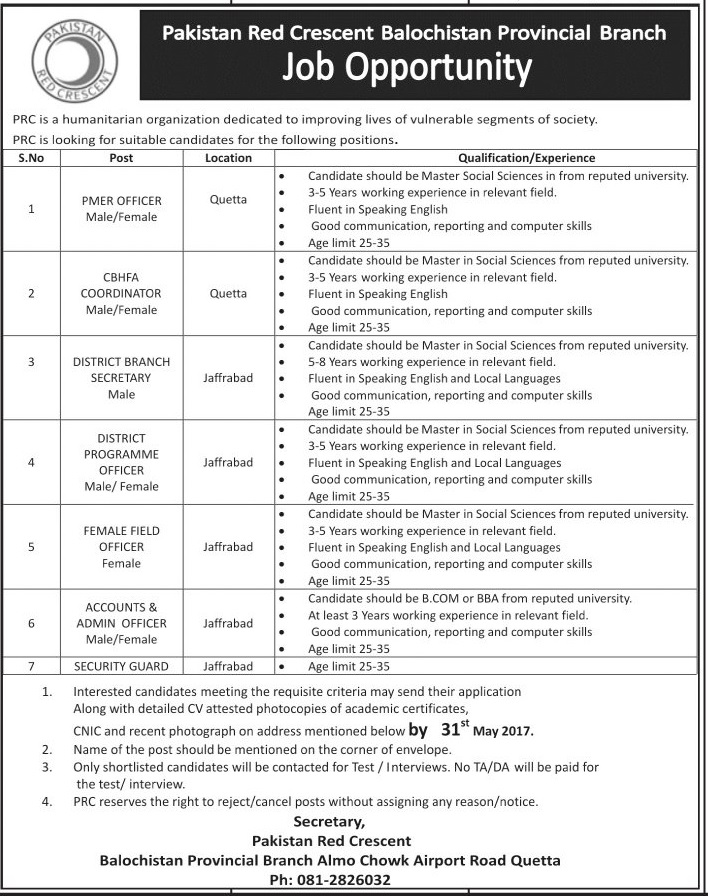 Jobs In Pakistan Red Crescent Society Blochistan Branch 23 May 2017