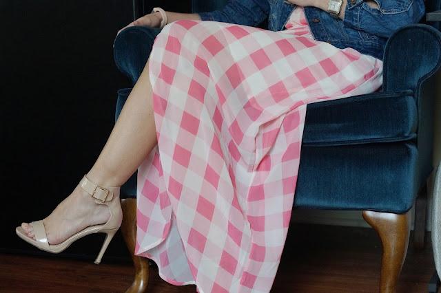 AMI Clubwear pink gingham plaid dress