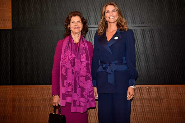 Princess Madeleine wore Diane von Furstenberg stassie satin crepe jacket and ciara satin crepe pants. Manolo Blahnik pumps
