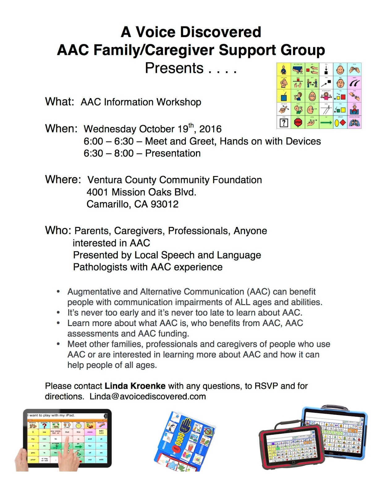 SCAAC-N: AAC Information Workshop (Camarillo, 10/19/16)