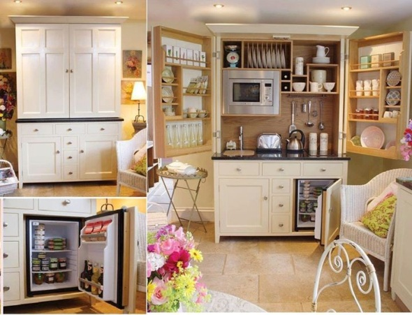 Desain Dapur dalam Lemari : Kalau pintunya ditutup, dapur ini terlihat seperti lemari baju atau lemari hias.
