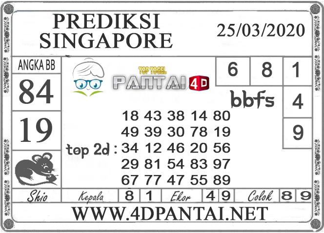 PREDIKSI TOGEL SINGAPORE PANTAI4D 25 MARET 2020