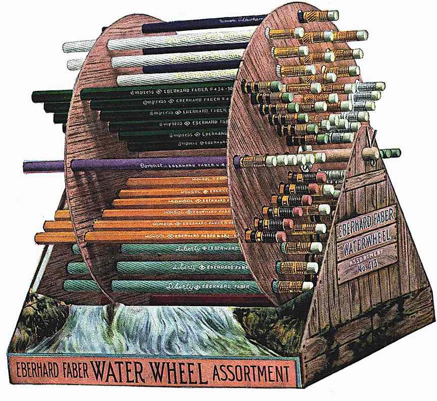 "a 1911 Eberhard Faber retail pencil display, a color illustration of the ""Water Wheel"""