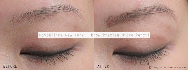 Maybelline New York Brow Precise Micro Pencil in Deep Brown Before After Review Swatch
