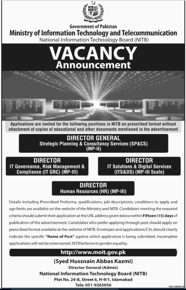Advertisement for the Ministry of Information Technology and Telecommunication Jobs 2019