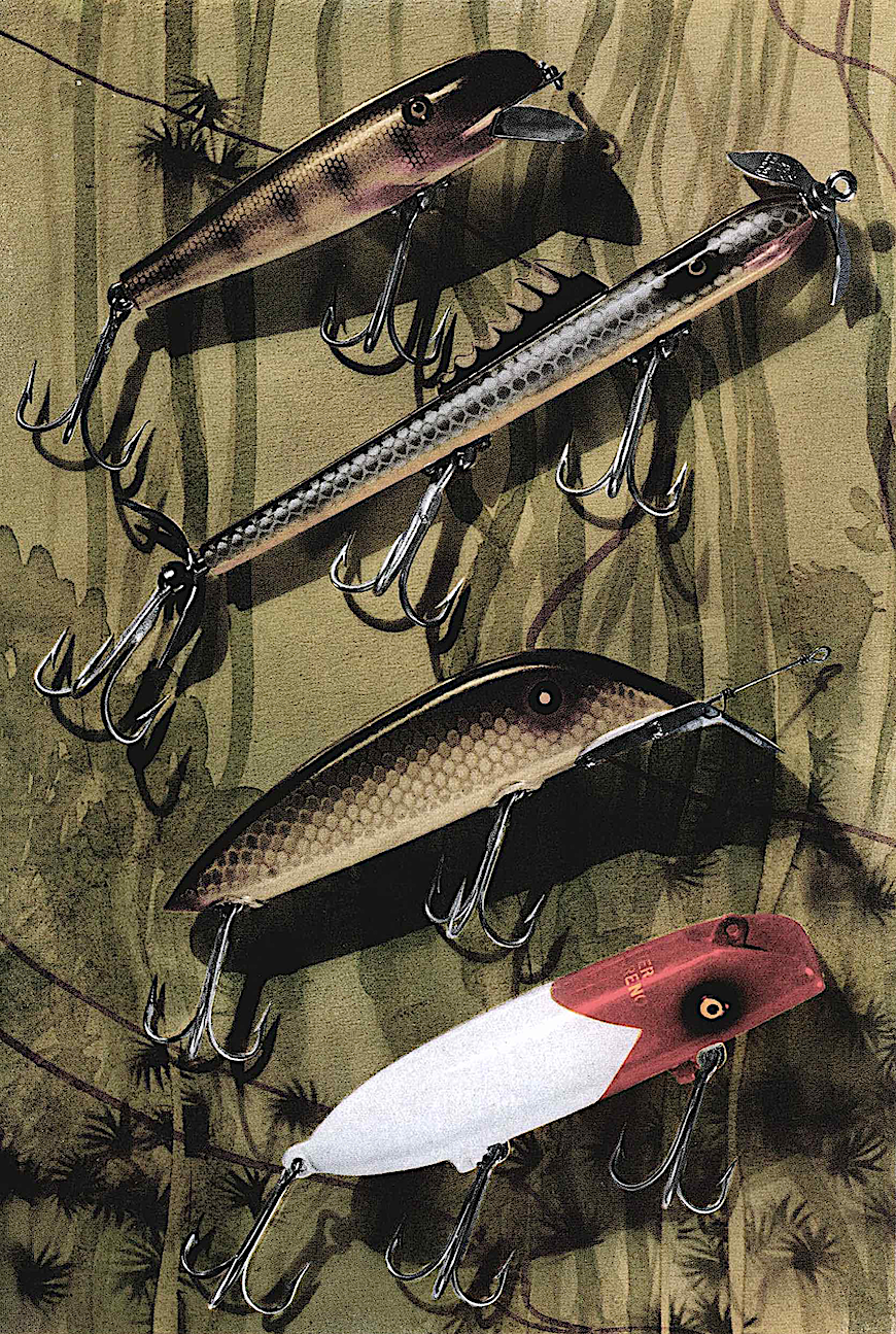 1934 fishing lures, a large color illustration