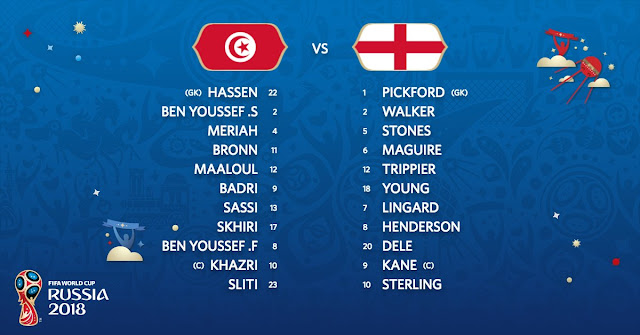 Starting Line-up: Tunisia vs England