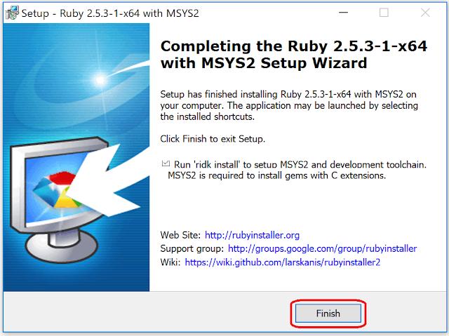 Windows10へのRubyインストール完了画面