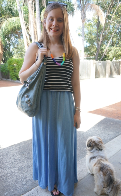 trapeze striped tank chamrbay maxi skirt summer style SAHM outfit balenciaga Day bag | AwayFromBlue