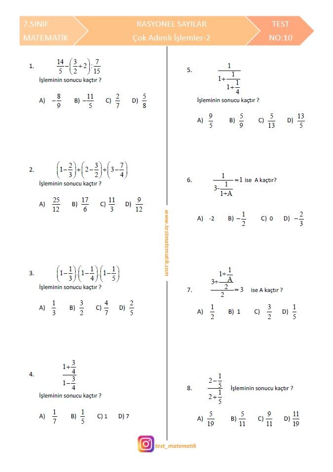7sinif Rasyonel Sayilarla çok Adimli Işlemler Test 2 Test Matematik