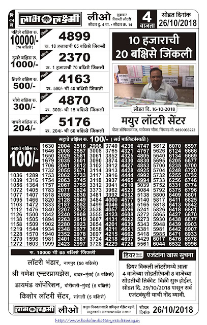 Labh Laxmi Lottery Result Today - 26-10-2018
