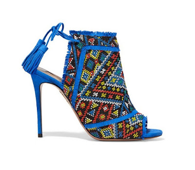 Aquazzura Colorado Embroidered Aztec Inspired Print Suede Sandals