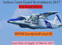 Indian Coast Guard Recruitment 2017 – Navik (General Duty)